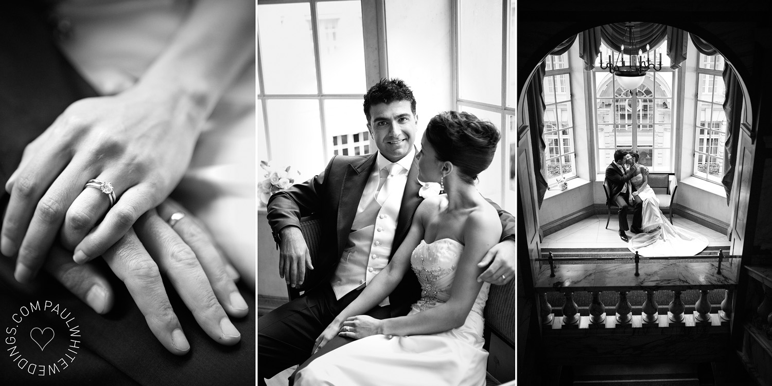 photography of bride and groom in london Hotel